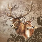 CraftEmotions Napkins - Deer Couple Brown