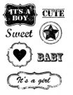 Craftemotions A6 Clearstamp Set - Vintage Baby Text Labels