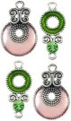 Cousin Kaleidoscope Charm Set - Pink/Green (4 charms)