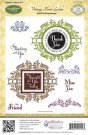Justrite Cling Stamp Set - Vintage Floral Labels (10 stamps)