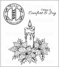 Heartfelt Creations - Sparkling Poinsettia Candle Pre-Cut Cling Mounted Stamp Set (3 stamps)