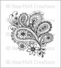 Heartfelt Creations - Peacock Paisley Pre-Cut Cling Mounted Stamp