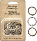 Tim Holtz Idea-Ology Mini Book Rings - Silver, Antique Brass & Antique Copper (18 pack)