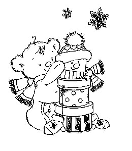 Nellie Snellen Christmas Time Clear Stamp - Present Bear