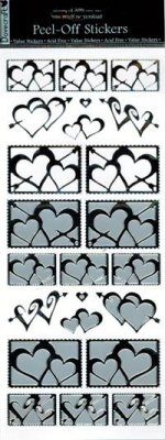 Dovecraft Peel Off Outline Sticker Silver Hearts