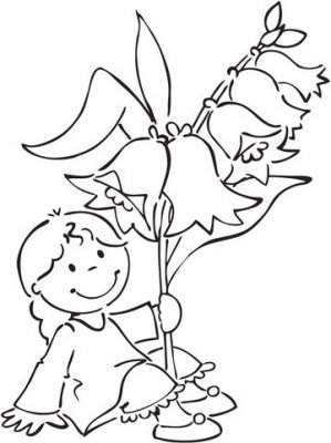 Marianne Design Elines Flower Girlz Clear Stamp - Bluebell