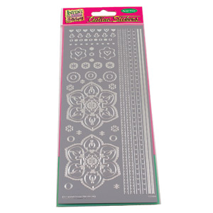 Anitas Outline Stickers Sticker Retro Flower & Borders - Silver