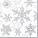 CraftEmotions Napkins - Snow Crystals Silver