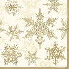 CraftEmotions Napkins - Snow Crystals Gold
