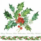 CraftEmotions Napkins - Holly Branch White