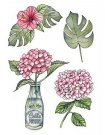 Craftemotions A6 Clearstamp Set - Hydrangea with Bottle