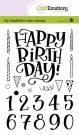 CraftEmotions A6 Clearstamp Set - Handletter Happy Brithday & Numbers (Eng)