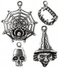 Cousin Tis The Season Charms - Silver Web; Teeth; Skull & Witch (4 charms)