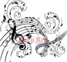 Deep Red Cling Stamp - Music Swirl