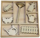 CraftEmotions Wooden Ornament Box - Garden Tools