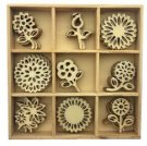 CraftEmotions Wooden Ornament Box - Flowers