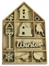 CraftEmotions Wooden Ornament Box - Home For Christmas Bird and Birdhouse