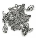 Blue Moon Silver Plated Metal Charms - Insects (7 pack)