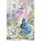 Ciao Bella A4 Rice Paper Sheet - Blue Butterfly