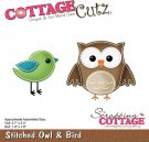 CottageCutz Dies - Stitched Owl & Bird