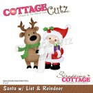 CottageCutz Dies - Santa with List & Reindeer