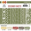 "Card Deco 6""x6"" Designer Sheets Paper Pad - Autumn Colours Moss Green (12 sheets)"