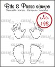 Crealies Clearstamp Bits&Pieces - Baby hands + feet (outline)