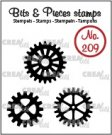 Crealies Clearstamp Bits & Pieces 3x gears (solid)
