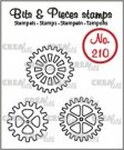 Crealies Clearstamp Bits & Pieces 3x gears (outline)