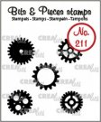 Crealies Clearstamp Bits & Pieces 5x gears small (solid)