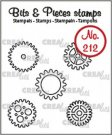 Crealies Clearstamp Bits & Pieces 5x gears small (outline)