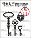 Crealies Clearstamp Bits & Pieces 3x keys and padlock