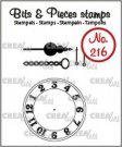 Crealies Clearstamp Bits & Pieces clock with chain and pendulum