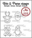 Crealies Clearstamp Bits & Pieces - Mini Reindeer, Santa Claus, Penguin