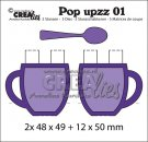 Crealies Pop upzz 2x pop up mug + spoon