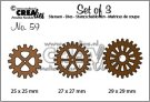 Crealies Set of 3 Dies no. 59 (3x gears)