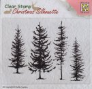 Nellie's Choice Christmas Silhouette Clear Stamps - Pine Trees