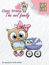 Nellies Choice Clear Stamps - The Owl Family Mother with Baby