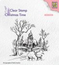 Nellies Choice Clear Stamps - Christmas Time Wintery Scene with Church & Reindeer