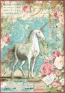 Stamperia A4 Rice Paper - Packed Wonderland Unicorn