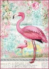Stamperia A4 Rice Paper - Packed Pink Flamingo