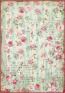Stamperia A4 Rice Paper - Small Roses and Writings Texture