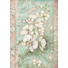 Stamperia A4 Rice Paper Sheet - White Orchid