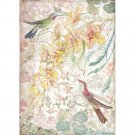 Stamperia A4 Rice Paper Sheet - Yellow Orchids & Birds