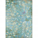 Stamperia A4 Rice Paper Sheet - Atelier Blossom Blue Background with Butterfly