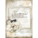 Stamperia A4 Rice Paper Sheet - Romantic Journal Manuscript and Clock