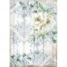 Stamperia A4 Rice Paper Sheet - Romantic Sea Dream White Flower