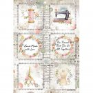 Stamperia A4 Rice Paper Sheet - Romantic Threads Mini Cards