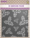 Nellies Choice 3D Embossing Folder - Holly Leaves & Berries