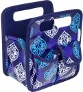 Everything Mary Makers Desktop Tote - Blue Quatrefoil Print with Navy Trim